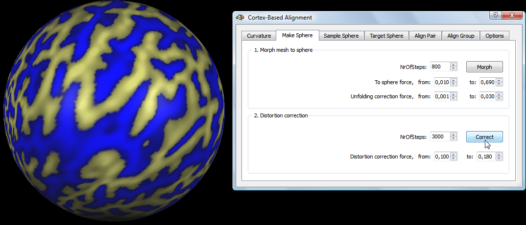 Morphing a Reconstructed Cortex Hemisphere to a Sphere