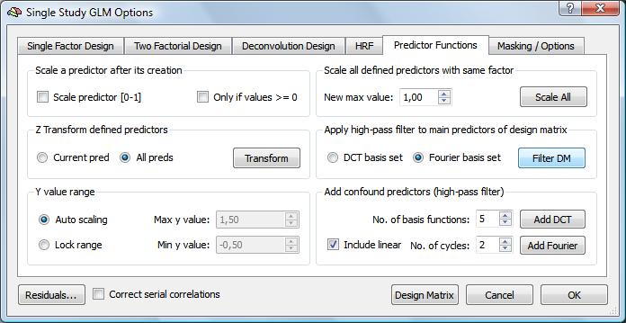 High-Pass Filtering of Design Matrix